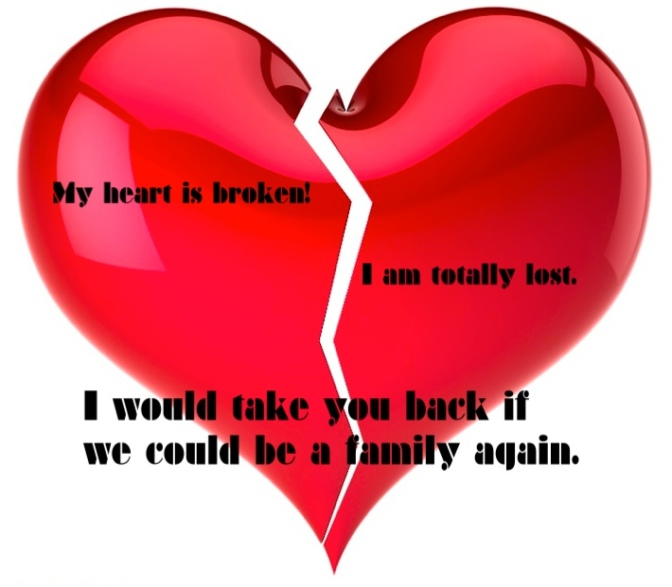 Broken heart I miss my fam m