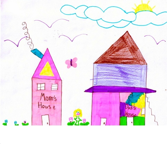 Child art m d house pink m