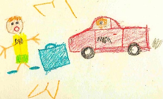 Child Art mom in car suitcase m